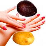 Авокадо и картошка для кожи рук