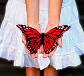 женщина в белом платье с бабочкой