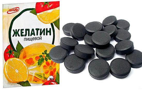 Активированный уголь и желатин