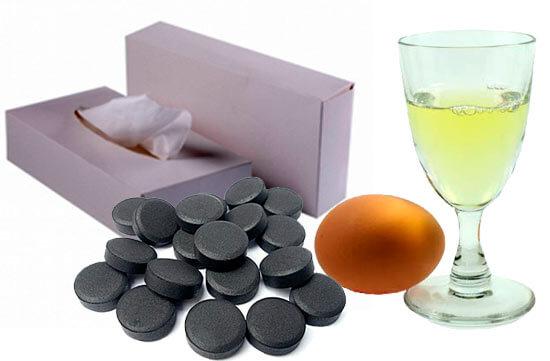 яичный белок и салфетки