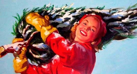 девушка с елкой