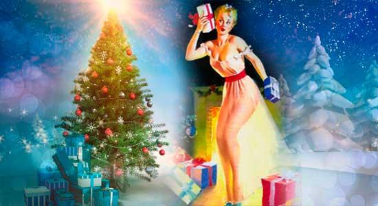 женщина в неглиже и новый год